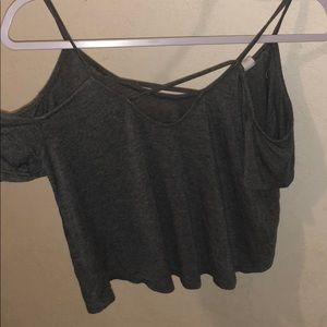 COLD SHOULDER STRAPPY GRAY TOP